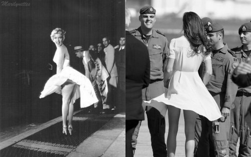 marilynettelounge:  A little to windy for Marilyn Monroe and Kate Middleton.