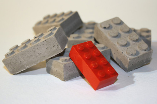 "A set of 6 Concrete Building Blocks from Etsy seller studio1015 for $8.5.""These bricks were hand cast to resemble a standard 2x4 LEGO building block. They make a great gift for an architect, builder, or anyone who's a fan of LEGO. Each brick measures approximately: 1 5/8""L x 3/4""W x 1/2"""""
