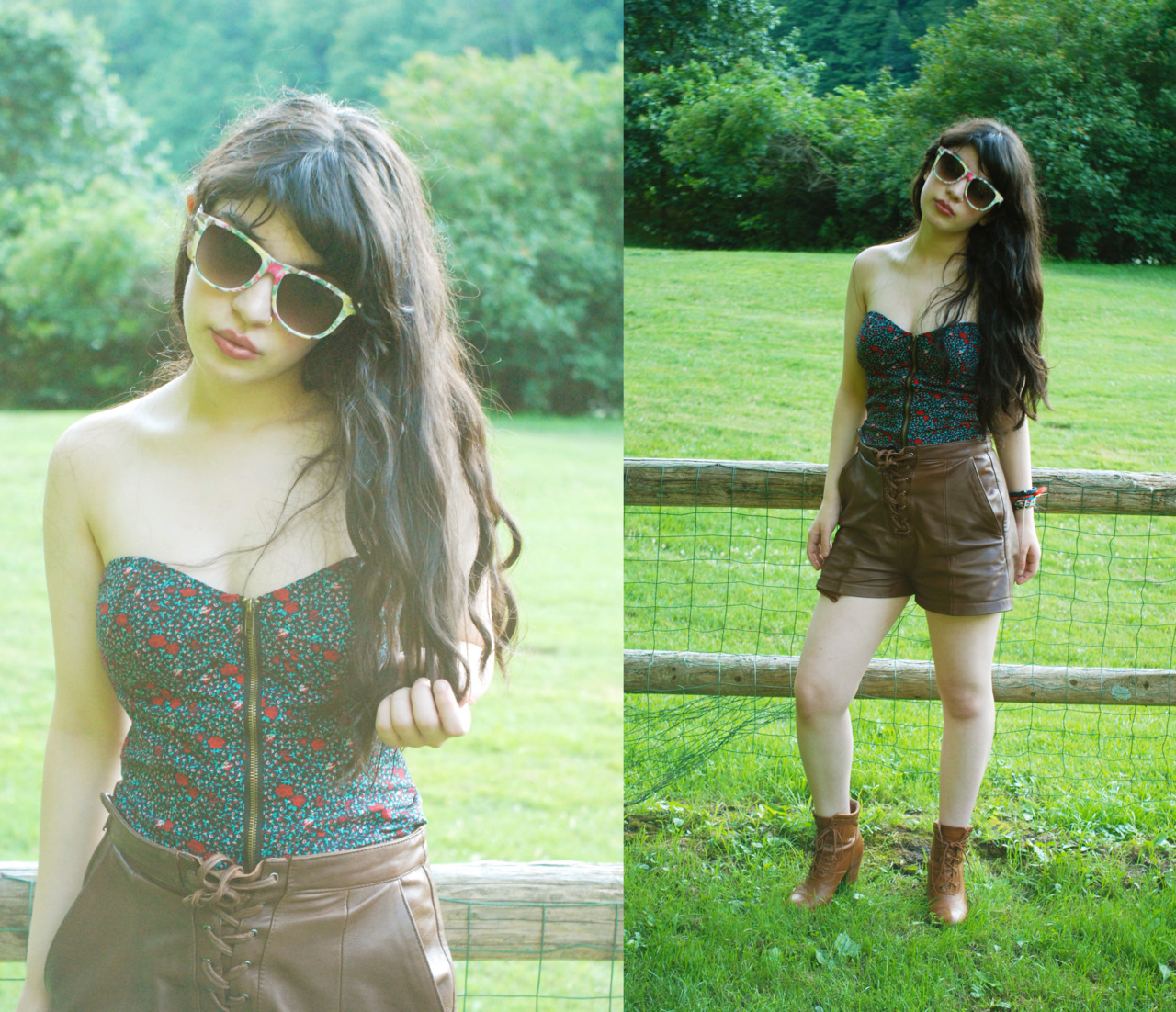 UO bustier, H&M leather shorts ahhhhhhh feels so weird putting up an outfit post at 11:41PM! OH P.S. LIFE TIP: leather shorts are ALWAYS A BAD IDEA on a mid-90s day :::::::::(