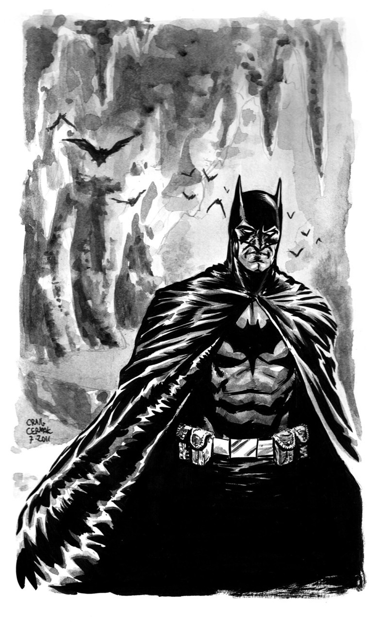 Batman sketch… clubchevon:  That's right, Club Chevon is back after what was a much needed one week break. Tonight I did a sketch of Batman. I love Batman. He's been with me my whole life, and it's my ultimate goal of illustrating a Batman book for DC. I'm gonna get out of here before I get all misty-eyed….  -Craig Cermak