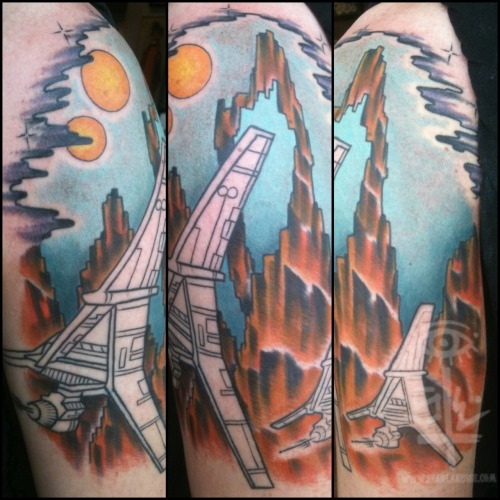 sickradsean:  Almost done with Kyle's Star Wars half sleeve. One more session to go! Sean Lanusse @ Infinity Tattoo PDX #tattoo