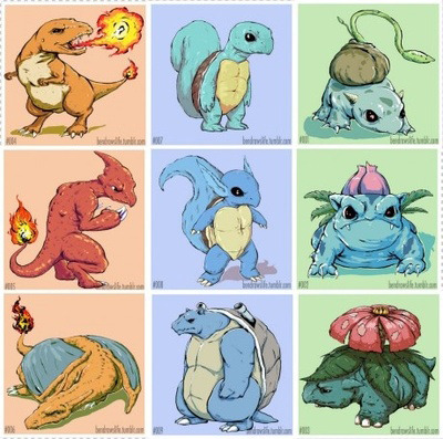 Which would you choose? Charmander looks like a mini-dinosaur, so I'd choose him.