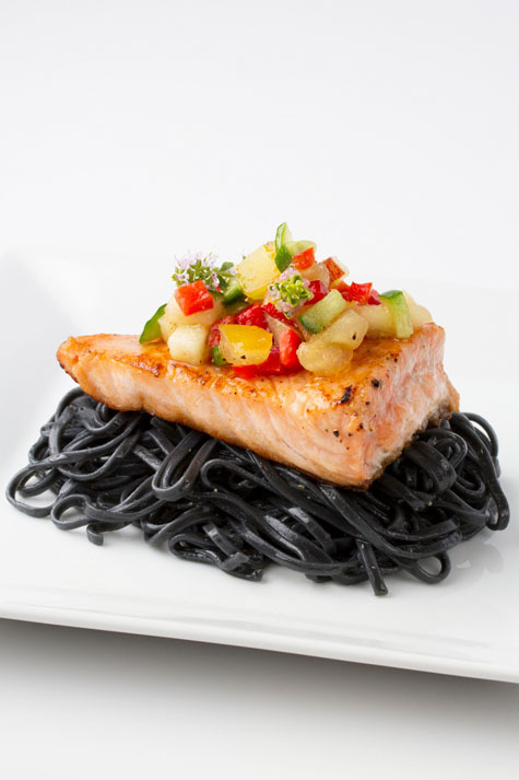 Salmon, salsa, and soba