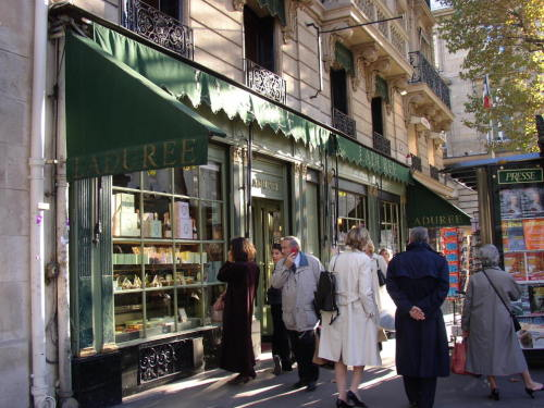 Outside Ladurée, the famous pâtisserie (pastry shop) in the 8th arrondissement in Paris, France, that has been in this location since 1862, and is well known for it's amazing macarons