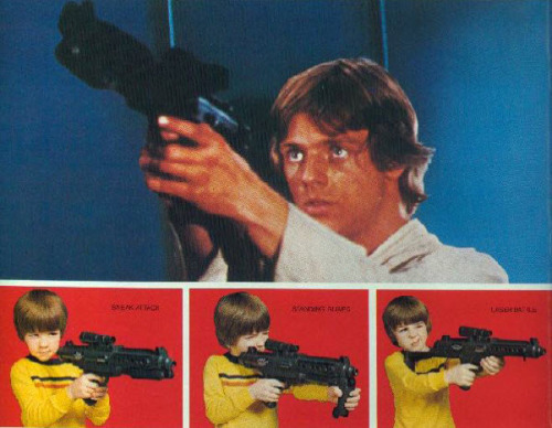 "Retro Star Wars Wednesday - Kenner Blaster Rifle Back in 1978, we didn't need no stinking orange painted cap and our guns were all black…ok mostly black. The inside of the barrel was yellow but the gun wasn't all freakin neon colored!  The gun made ""laser sounds"" when you pulled the trigger. In the first  version (seen here) it wasn't much of a sound, it was more like a  whirring/grinding noise. If you've ever heard a Kenner X-Wing or TIE  Fighter, it's on par with that. This baby was loaded with 2 D batteries. When was the last time you used D batteries? After ESB, it would make more of a laser  sound and have two firing modes/sounds and take a single 9-volt. The thing I love about this classic is the 3-way stock it had. They truly don't make em like this anymore. Left - stock is folded up and under the barrel which is usually how you see it on film Middle - a small handgrip folds down so you can hold it like a tommy gun Right - entire stock flips back and the handgrip flips down to become a butt so you could hold it like a true rifle"