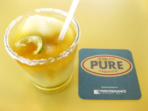 Margarita Texas at Pure Taqueria in Inman Park, Atlanta. Their house margarita with a floater of Gran Gala orange liquor. No other margarita compares.  Photo credit: Lush Lady