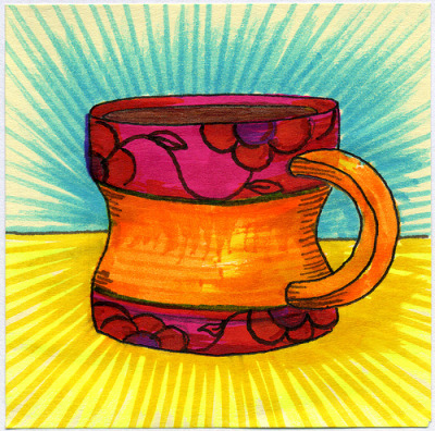"I drew you a ""Diet"" mug of coffee Just in time for Bikini season this summer, drink up from this ""Diet"" sized mug of coffee. Hope you like it.This is part of my ""The Daily Coffee"" marker drawing series."