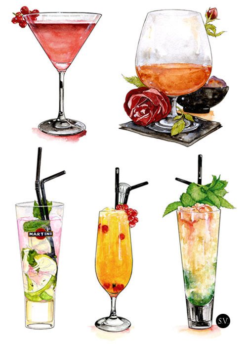 sophievarela:  My work : cocktail illustrations