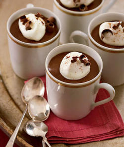 Mini Mochaccino Puddings   Ingredients    4 cups milk 2/3 cup sugar 1/4 cup cornstarch 2 tablespoons unsweetened cocoa 1 tablespoon instant espresso powder 1/8 teaspoon salt 8 ounces bittersweet chocolate, broken up 1 tablespoon vanilla extract 1 cup heavy cream 2 tablespoons confectioners' sugar ground cinnamon, to garnish  Directions Whisk milk, sugar, cornstarch, coca, espresso powder and salt in a large saucepan until blended. Bring to a boil over medium-high heat, stirring often with a whisk and making sure to reach into corners of saucepan. Boil for 1 minute, whisking until thickened. Remove from heat; stir in chocolate and vanilla until chocolate is melted and mixture is smooth. Pour into twelve small espresso cups or other small glasses. Cover with wax paper; refrigerate at least 1 hour until firm. When read to serve, beat cream and confectioners' sugar until very soft peaks form. Spread over tops of pudding and sprinkle with ground cinnamon.