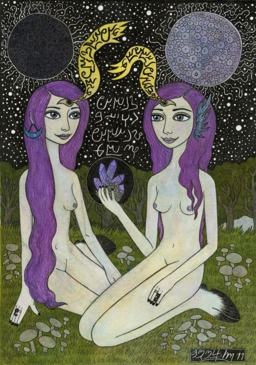 cosmicforestpeople:  practicing telepathy, by bethy williams