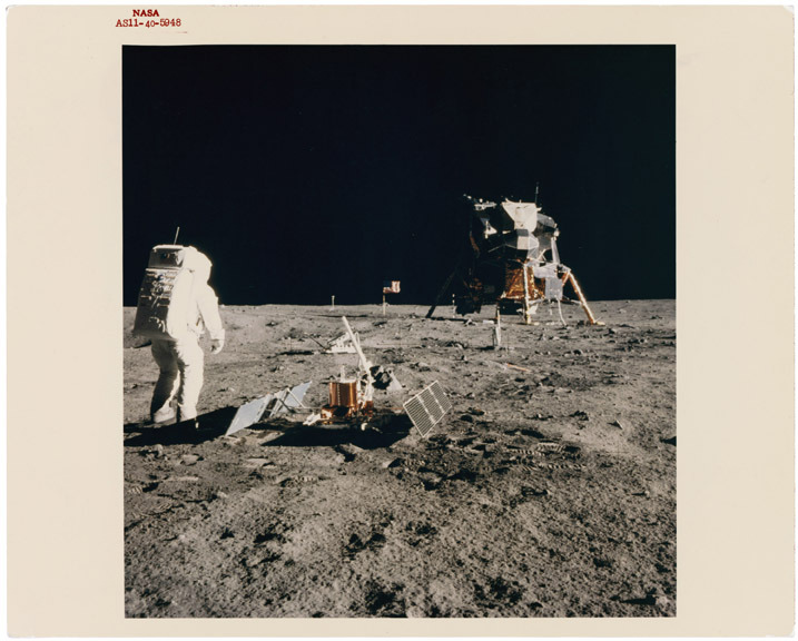 "July 20, 1969 - Extravehicular Activity on the Moon This is a photograph of Astronaut Edwin ""Buzz"" Aldrin, Jr. on the moon during the Apollo 11 Mission."