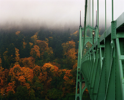 The St. Johns Bridge enjoying Fall (by Zeb Andrews)