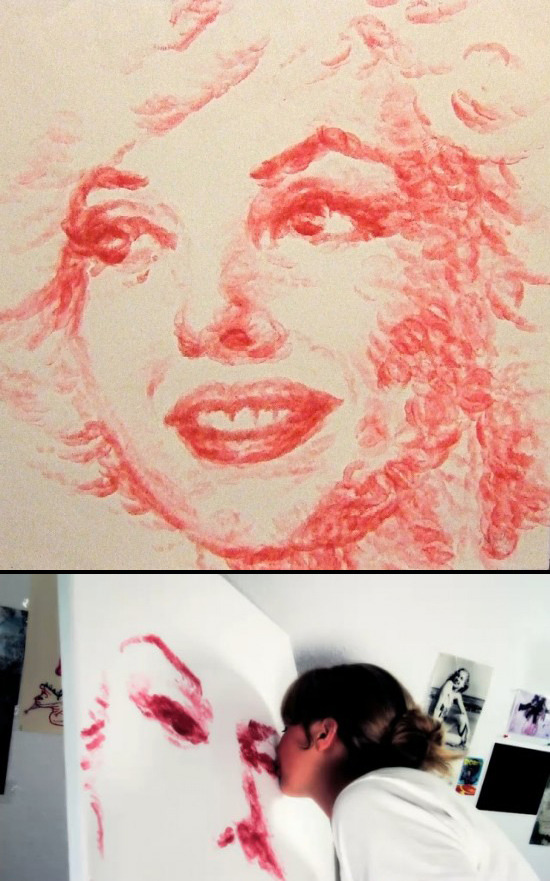 Artist Natalie Irish painted this Marilyn Monroe portrait with her lips! Marilyn's face is entirely made up of lipstick kisses. Extra: Watch this vid on her process. Marilyn Monroe Portrait Made Out of Lipstick Kisses