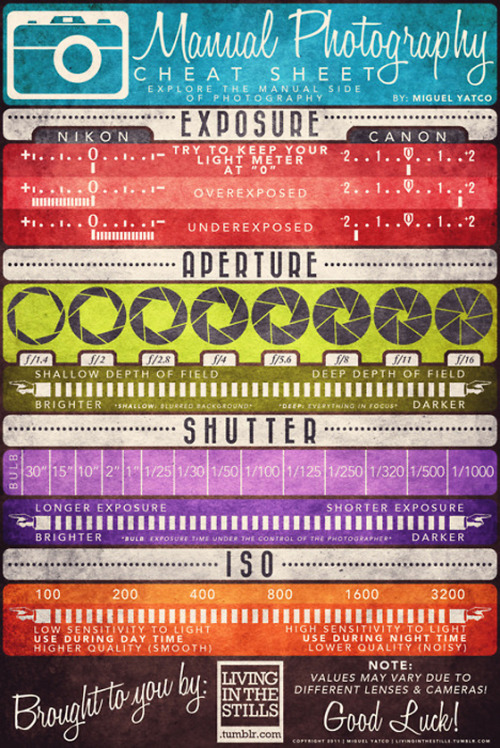designdust:  Manual Photography Cheat Sheet by Living in the Stills