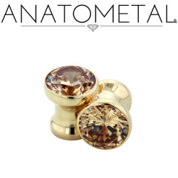 anatometal:  4ga Single Stone Eyelets in solid 18k yellow gold; champagne gemstones