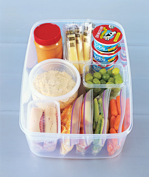 dontkillthedream:  Healthy Refrigerator Snack Station(via Real Simple) Jar of peanut butter (preferably the natural kind, for dipping) String cheese Yogurt Grapes Assorted crudités—baby-cut carrots, celery sticks, pepper slices—in plastic bags Orange segments Lunch-meat roll-ups (like turkey-and-Swiss or ham-and-Cheddar) Tub of hummus (for dipping)