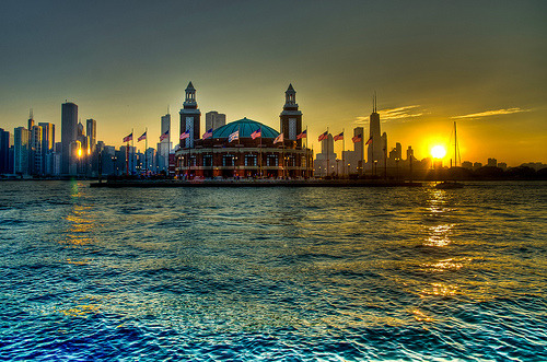 landscapelifescape:  Navy Pier, and part of the Chicago skyline, from Lake Michigan, Illinois, USA Pier Sunset (by topmedic )