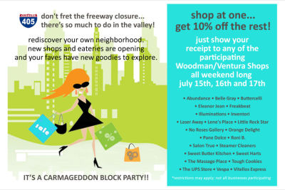 "Shop and save at the Ventura Boulevard ""Carmageddon Block Party""!!!"