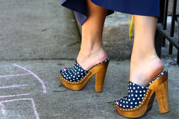 Generally I'm not too crazy for clogs but Miu Miu's summery polka dot puppies are lovely. xoSnapette Image via styletribe