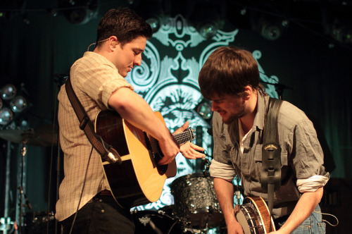 Marcus Mumford and Winston Marshall of Mumford & Sons perform at Stubb's on November 3, 2010.