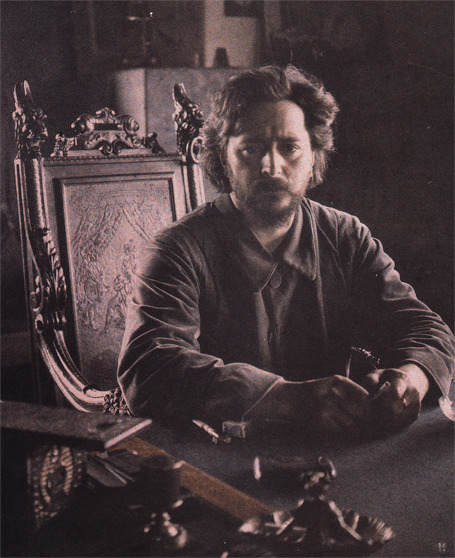 "No one reads Gorky's close friend, Leonid Andreyev (1871-1919), who wrote plays, novels, and short stories. His writing is melancholic, psychological, satirical, and illuminatingly unorthodox in its treatment of religion.  Borges included one of Andreyev's short stories, ""Lazarus"", in the Russian stories section of The Library of Babel. In addition, I recommend, for starters, A Dilemma (a.k.a. A Thought), The Red Laugh, and The Seven Who Were Hanged; the latter two were in Lovecraft's personal library.  (Image: ""Leonid at his desk, mid-May 1910"", scanned from Photographs By A Russian Writer; the book features Andreyev's photographs and a couple of his paintings.)"