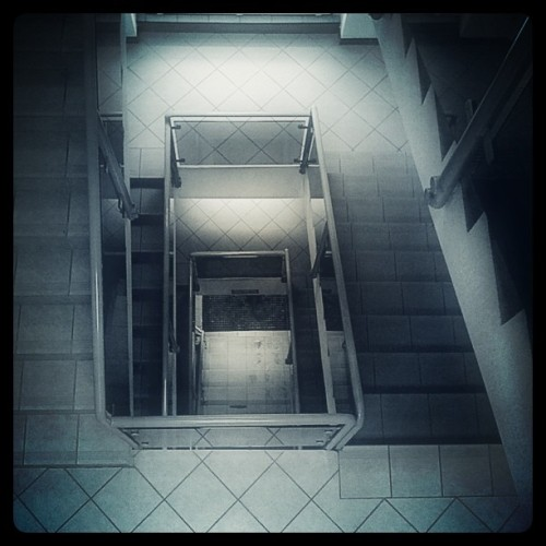 Day 11/365 - Dark stairs Interior stairs from top view. I used Instagram (Walden). Listening to Tool - Sober now.
