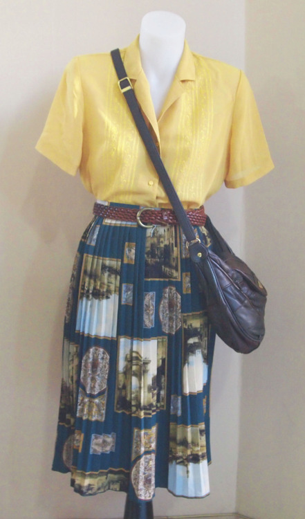 Friperie Pleated skirt, mustard blouse and leather bag - 3 items for $90
