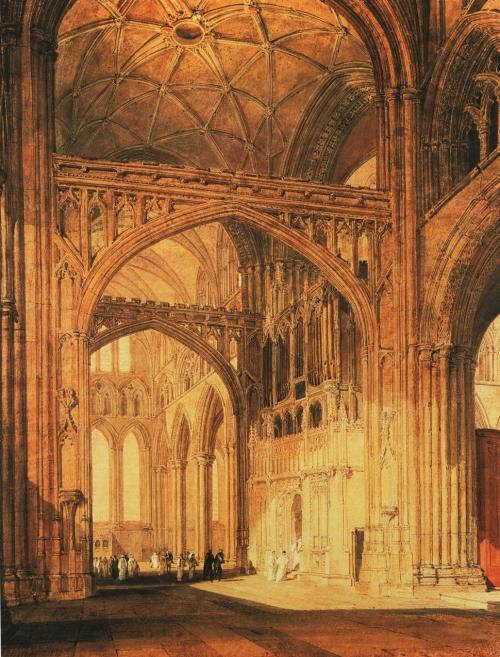 Interior of Salisbury Cathedral - Joseph Mallord William Turner. circa 1802-1805 watercolor