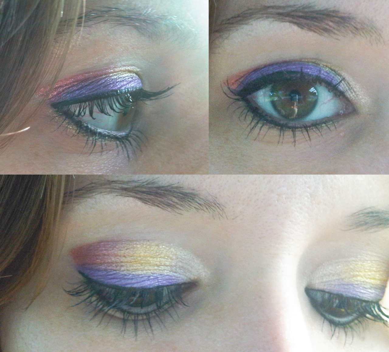 Today's Theme: Sunset in Rio Used: NYX Jumbo Eye Pencil in Cottage Cheese, NYX Loose Pearl Eyeshadows in Fanta Pearl and Yellow Pearl, Urban Decay Peacock Pallet Flash (Purple), Physicians Formula Shimmer Strips in Vegas Strip (Top Strip-White), e.l.f. waterproof eyeliner pen in Black, Ulta eyeliner in Gold and Mabelline's The Falsies mascara.  (This was my first time using The Falsies and I was greatly disappointed.  It did not go on well, the brush was a disaster and it dried as hard as plastic.  I will not be using again!)
