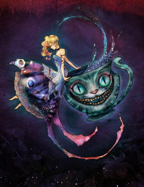 Though I'll usually post Alice in Wonderland fan art on Book Saturdays, since this exquisite piece by carlzeno makes specific references to Tim Burton's 2010 movie version, it can join the popular alt art at the movie table.