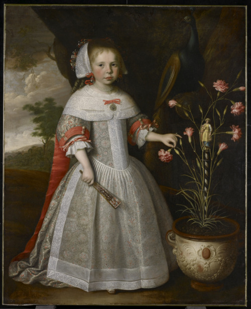 Portrait of a Young Girl with Carnations, c. 1663 Jan Albertsz. Rotius (Dutch) Painting, oil on canvas,  118.1 x 96.5 cm Gift of Miss L. Aileen Larkin, 1945