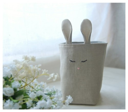 Bunny Rabbit Box Natural Oatmeal Linen Fabric Bin by hoganfe