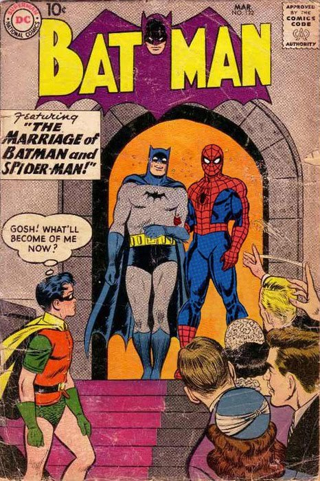 "lgbtlaughs:  [cover of a batman comic, featuring batman and spiderman stood together on the steps of a church in front of a crowd. spiderman has his arm linked in batman's. text box: featuring  the marriage of batman and spider-man! Robin is in the foreground looking pensive with the thought bubble: ""Gosh! What'll become of me now?""]"