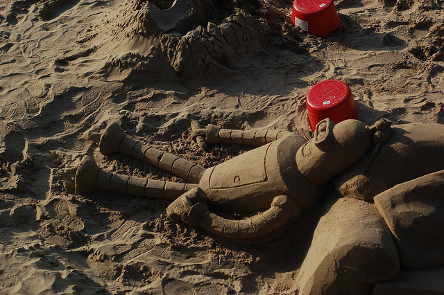 Futurama by MegMoggington on Flickr. Bender Sand Sculpture