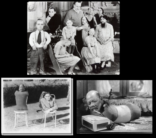 "Stills and set photos from Freaks (1932 dir. Tod Browning).   Joining a circus at the age of sixteen, Browning insisted on use actual sideshow attractions for the cast rather than make-up and effects.  Though based on the short story ""Spurs,"" Browning based aspects of the movie from his experiences in the circus, portraying ""freaks"" as honorable trusting people while those that are ""normal"" were monsters. Audiences mostly reacted negatively, not comfortable seeing actual freaks on the movie screen (it has even been said that Myrna Loy and Jean Harlow turned down roles as they were not comfortable starring alongside the rest of the cast) insuring that the film was a financial flop.  Browning career's was derailed as a result."