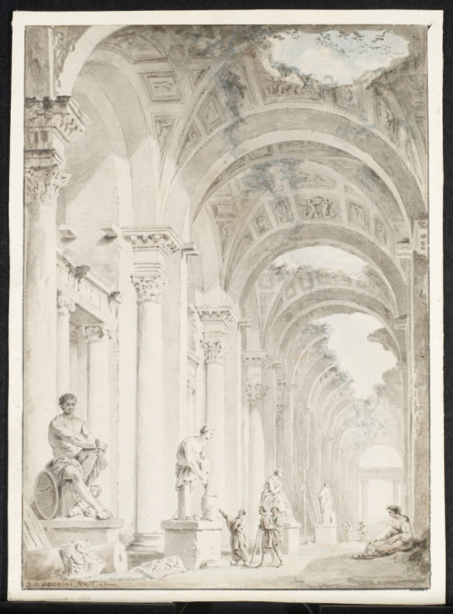 Ruins with Figures and Statues in Niches, 1750 Paolo Panini (Italian) Drawing, black chalk and watercolour on paper, 35.3 x 25.4 cm Gift of American Friends of the Art Gallery of Ontario, Inc. through the generosity of Dennis and Mary Bunyan, 2006
