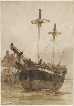 artgalleryofontario:  A Fishing Boat Beached by a Jetty, c. 1821 Richard Parkes Bonington (British) Watercolour painting, watercolour with traces of pencil on paper, 34.9 x 24.2 cm  Gift of American Friends of the Art Gallery of Ontario, Inc. through the generosity of Dennis and Mary Bunyan, 2006