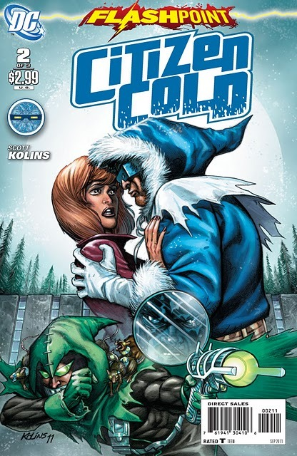Flashpoint: Citizen Cold #2 Score: 7/10 And so it continues. Even though I am not going review each FLASHPOINT tie-in, I am following this big event very closely. This week, the first of the #2s were released. The last issue of CITIZEN COLD was pretty strong, despite some less than stellar things I heard from my peers. It also ended with a big punch, which I was hoping would carry into issue #2.  Issue #2 opens with Citizen Cold's 'Rogues' breaking out of Iron Heights Penitentiary to seek revenge on the cold man himself. The Rogues bring a special guest with them, Citizen Cold's sister Lisa. The story then flips to a lunch interview between Iris West and Citizen Cold, who seem to have two very different ideas about the purpose of the lunch. After a text alert, Cold quickly runs out on their lunch. The Rogues, prepping to face their ice hearted foe, quickly find he has already arrived to greet them. I don't want to give away much of the rest, but Cold ends up in an epic fight with the Rogues to save his sister. This issue ends with a surprise as Cold confronts Iris. Issue #2 was ok; I don't think it packed the punch that the first one did. It was a mediocre story with pockets of thrilling moments throughout. This may be more of a personal opinion, but I don't think I am a big fan of Kolins' art style either. The characters come off as too cartoony, and their emotional expressions are at times campy. I must say though, his artwork for the ending battle with the Rogues is pretty intense. Even though I didn't think this issue was as strong as the opener, I still believe this is a really good series. Flash fans should also enjoy this take on Cold. I am excited to see how this all wraps up in the coming issue.