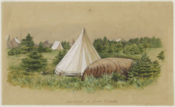 Our Camp at Seven Islands, 1861 - 1862 William George Richardson Hind (Canadian, 1833 - 1889) Watercolour painting, watercolour and graphite on wove paper, 15.3 x 25.3 cm Purchased with the assistance of the Government of Canada through the Cultural Property Export and Import Act, 1980