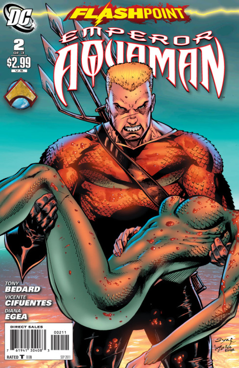 "Flashpoint: Emperor Aquaman #2 Score: 8/10 Few covers have shocked me as much as this. The raw anger and violence on issue #2's cover was stifling. and I was curious if the contents of the issue would be as intense as its cover. FLASHPOINT: EMPEROR AQUAMAN #2 opens with Aquaman, Prince Orm, and Siren plotting the assassination of the Meta-Human Terra. Terra is the one who, under the instruction of the Amazons, raised Great Britain half a mile into the air. Despite some warnings form his advisors; Aquaman dispatches Orm and Siren to do the Job. They arrive to find Terra sitting outside, seeming harmless enough. As Orm and Siren are ambushed by a less than welcoming group of Amazons, we flash back to the story of Aquaman. Beginning like many Aquaman stories before, the flashback slowly begins to take that oh so familiar FLASHPOINT turn for the worst. It becomes angry, violent, and truly disturbing. Snapping back to a reality of equal ferocity, Wonder Woman appears and unleashes her ""Furies"" on the Atlantean flagship. She is on the rise to confront the leader of her underwater foes. And to think, they were once almost married.  This issue was a complete opposite of CITIZEN COLD. Issue #2 was much stronger than issue #1, though the story of issue #1 was strengthened a bit by Wonder Woman's #1.  The story flowed better and even though there were some wonderfully shocking moments, the comic didn't feel to ride their momentum. I felt it dragged a little at times, but Bedard did a great job with his cliffhanger ending. The art is done very well, but something bothers me in how vastly different Aquaman looks before the assassination of Diana's mother and after. A haircut is not the only difference; his whole body shape and bone structure changed as his first marriage failed.  I was very happy with issue #2. Tough I didn't think the first one was awful, I felt issue #2 caught the essence of the anger and tyranny that Aquaman has boiling over. I do however hope either WONDER WOMAN AND THE FURIES #2 or the next issue of EMPEROR AQUMAN goes more in depth into what happened to Mera. She has been in a mess of covers and panels, but we still don't know the true details of her death. Great issue. Go pick it up."