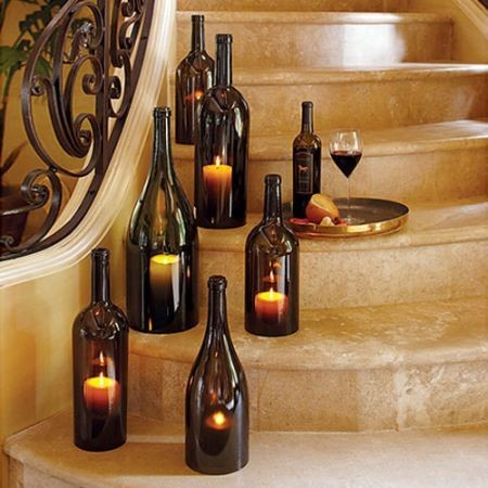 ilovemyapartment:  Wine bottles with the bottoms removed  A cool potential diy craft to create ambient lighting for a wedding or reception?