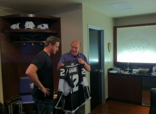 thelosangeleskings:  Bob Miller welcomes Simon Gagne to the LA Kings.