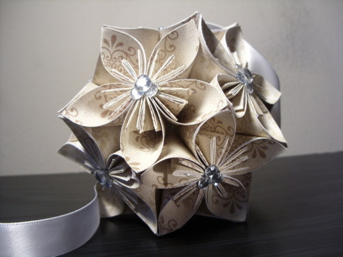Wedding Patterned Origami Flower Ball @ PaperShell