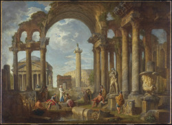 A Capriccio of Roman Ruins with the Pantheon, c. 1755 Giovanni Paolo Panini (Italian, 1691 - 1765) Painting, oil on canvas,  99.1 x 135.3 cm Purchase, Frank P. Wood Endowment, 1963