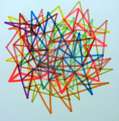 Moriki Tomihara needed a geometrical drawing. Ink, Gouache, marker 12x12 in.