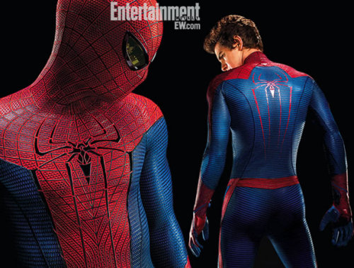 "(via Nine New Looks at 'The Amazing Spider-Man' | RopeofSilicon.com - Movie News and Reviews Done Right) [Image description: Black background, white Entertainment Weekly watermark. To the left, a waist-up look at the new Spider-Suit; the eyes seem to have dark, yellowish lenses. I don't know. To the right: head to knee shot of Andrew Garfield's ass wearing it. (Garfield is looking down and to the left, not quite over his shoulder, as if to say resignedly, ""This is the part where I am objectified for money. I know. It's a lot of money."") The Spider-Logo on the suit this time has the four lower legs trailing down the chest and back, which I think is different. Also, the suit is… textured.] @queenanthai: @cleolinda He looks like they skinned a bunch of basketballs, dyed them red and blue and slapped 'em on his skin. Click the link for mechanical webshooters, Emma Stone, Mad Scientist Rhys Ifans, and SO MUCH MORE."
