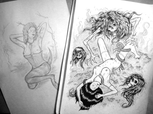 More WIPsss… A finished ink of Incubus rape (hand stippled too - my hand is gutted…) and pencils for a sexy faun lady ;) -MC