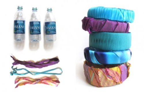 isceceti:  Recycle water bottle into cute fabric cuff.
