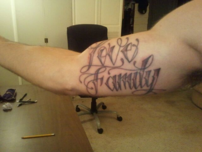 djblesone:  @BboyThesis 's new tattoo! @MASHHALL #LOVEFAMILY THICKER THAN BLOOD!!!!! KnuckleHeads Cali x Them Team!  That's wassup! Now there are two of us! Who's next #LOVEFAMILY?