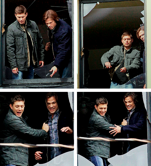Jared: We had this scene where they jump out [the window] and Misha, you were laying on the car, the other guy had vanished by then. And so Jensen and I were like 6 floors up, looking out the window, and we were launching-Misha: They were actually throwing broken glass at me.Jared: We just wanted to see if it would fly! Because you can't really aim it…Misha: No, that's totally legitimate. I wouldn't question that. It was science!Jared: We've came to the conclusion that glass does not fly properly. You can't toss it, you have to fling it.